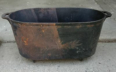 Antique Large Oval Footed Cast Iron Kettle, Handle  Rounded Bottom Gate Mark