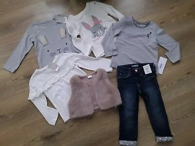 BNWT Next H&M baby girl bundle clothes fur gilet jumper tops 18-24 months