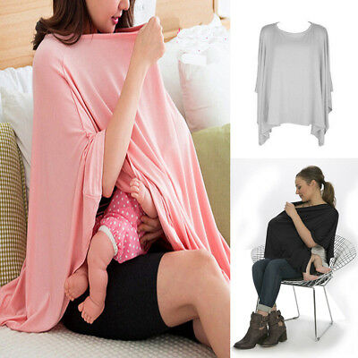 Baby Mum Breastfeeding Nursing Poncho Cover Up Udder Covers Cotton Shawl