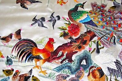 Vintage Silk Embroidery Tapestry Panel Peacock, Birds, Calligraphy ~ Mint