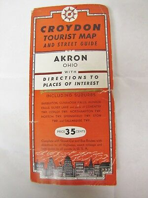 Vintage Early 1950s Croydon Tourist Map of Akron, Ohio w/Suburbs