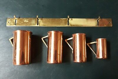 4 Vintage ODI Portugal Solid Copper Measuring Cups Wall Mount Rack