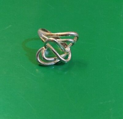 Vintage Sterling Silver Interlaced Antique Hearts Ring Heavy Weight Nice!!