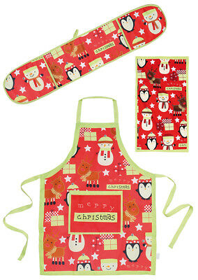 Merry Christmas Xmas Festive Kitchen Cooking Apron Double Oven Glove & Towel