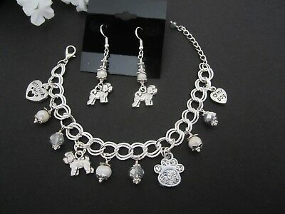 Bichon Frise Dog Charm Bracelet & Earrings with Fresh Water Pearls &  Crystals