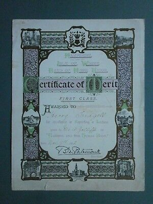 1912 Temperance Certificate Hampshire & Isle Of Wight Band Of Hope Union