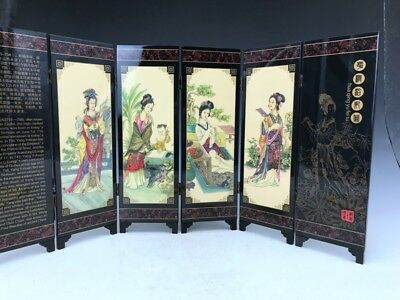 Chinese Lacquer Hand-painted Drawing Screen Decoration Beautiful Woman.  x226