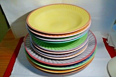 4 Colorful Fioriware/jardinware Art Pottery 3 Piece Place Settings Plates Bowls2
