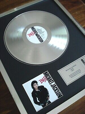 Michael Jackson Bad Lp Platinum Plated Disc Record Award Album