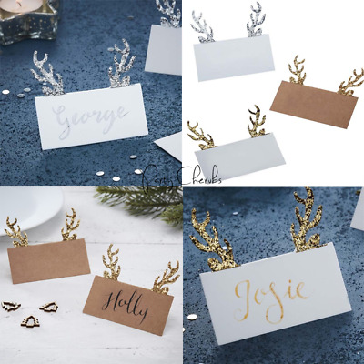 Glitter Antler Christmas Table Place Cards X 10