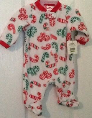 Infant Size NB Christmas Fleece Sleep And Play Footed Sleeper NWT
