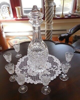"Waterford Crystal Colleen Wine Decanter 13.5"" Tall + 7 Crystal Sherry Glasses"