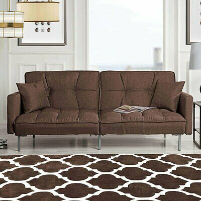 Amazing Modern Plush Tufted Linen Fabric Sleeper Futon Sofa Bed Squirreltailoven Fun Painted Chair Ideas Images Squirreltailovenorg