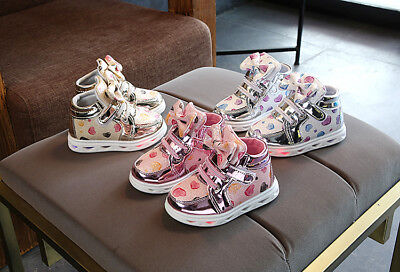 LE LED Light Kids Kitty Cat Bow Sneakers Girls Lace-Up Luminous Casual Shoes