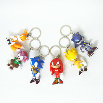 6pcs Game Sonic the Hedgehog Keychain Keyrain Action Figures Doll Set Kids Toy