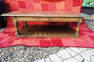 Large English Oak - Titchmarsh And Goodwin - Two Drawer Coffee Table