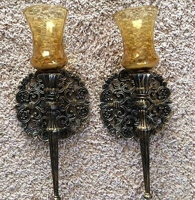 VTG Pair Gothic Sconces 1973 Homco USA Medieval Candle Holders Black Gold Tone