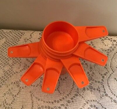 Vintage 6 Piece Set Of Orange Tupperware Measuring Cups