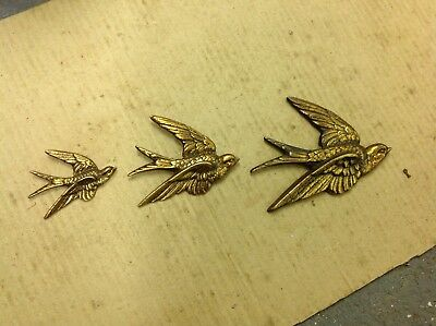 Vintage Brass Flying Swallows