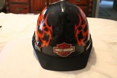 HARLEY MOTORCYCLE HARD HAT Construction flames By Sperian Hat Shell Made In USA