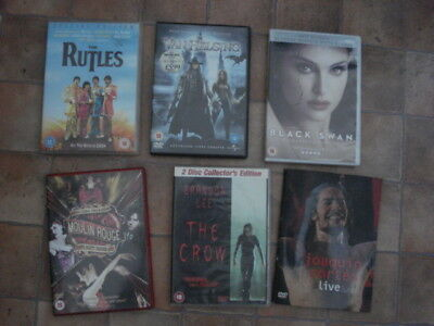 Job Lot Of 6 DVDs Moulin Rouge The Crow Black Swan The Rutles Joaquin Cortes
