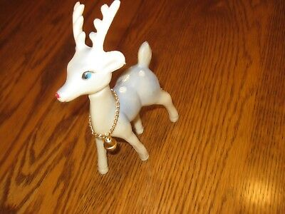 Vintage Plastic Japan Blue and White Deer with Bell Around Neck