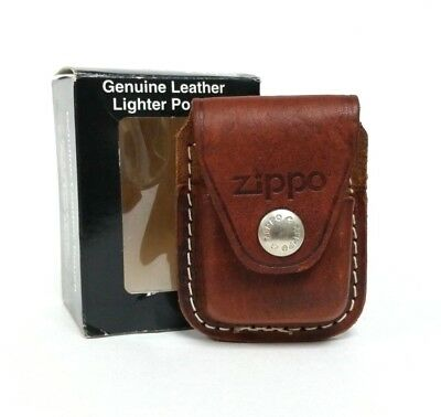 Fliptop Leather Lighter Pouch Holder Case with Belt Clip - Genuine Pouch - Brown