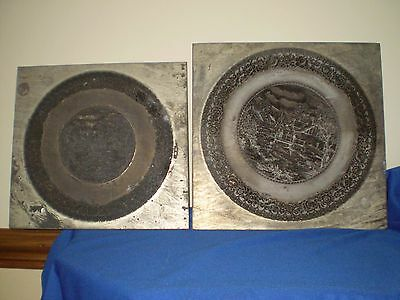 RARE ANTIQUE / VINTAGE POTTERY TRANSFER PRINTING PLATES.Matching Pair.