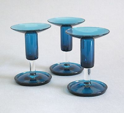 3x Nanny Still Harlekiini Candle Stick Riihimaen Lasi Finland Art Glass signed