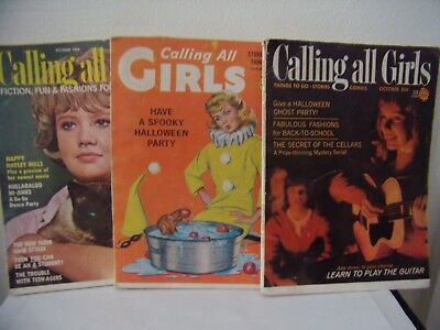 Vintage Lot of 3  'Calling All Girls' Mags-Halloween Oct issues- NR