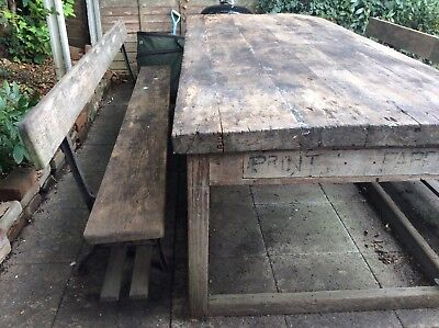 Large antique school workbench table & two school benches with cast iron legs