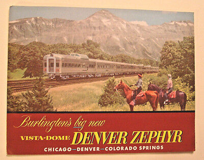 1950's COLOR BURLINGTON VISTA-DOME DENVER ZEPHYR 16pp. BROCHURE