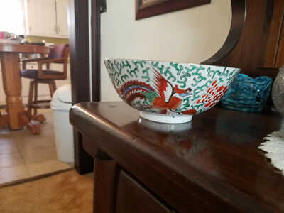 Oriental Asian Decorative 8 inch Bowl Hand Painted with Gold