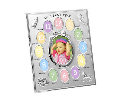 Baby Picture Frame My First Year 13 Photo Collage Gallery Time Silver