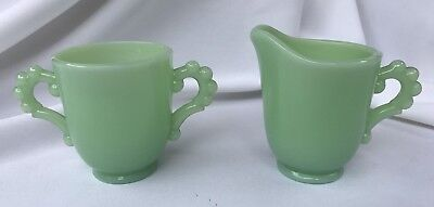 Vintage Retro JADEITE GREEN GLASS SUGAR and CREAMER C&S, Candlewick style