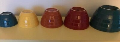 CRATE & BARREL Ribbed Mixing Bowl Great Set of 5 Nesting Colorful LOOK