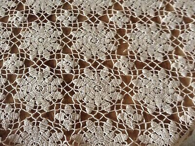 So So Lovely Vintage Estate Beige Crocheted Tablecloth/coverlet, 54 X 66, Euc.