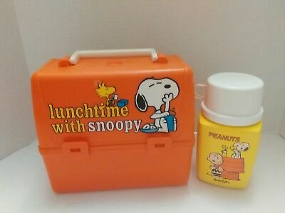 LUNCHTIME WITH SNOOPY Vintage Lunchbox & Thermos Set by King-Seely