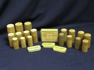Lot of Vtg Pflueger Hook Barrel Containers & Tins 22 Pieces Fishing Display