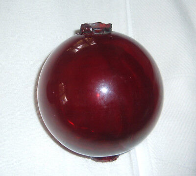 1900's Victorian Antique True Red Glass Lightning Rod Ball Ornament NOT REPRO!