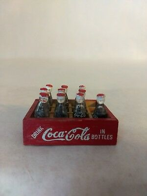 Vintage Miniature Coca-Cola Mini Coke Bottles 10 in a Red & White Wooden Crate