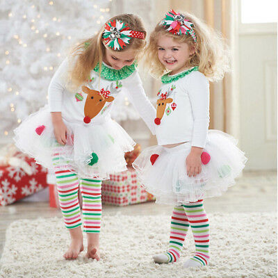 Christmas Reindeer Top + Skirt with Leggings Outfits Xmas Set for Baby Girls Kid