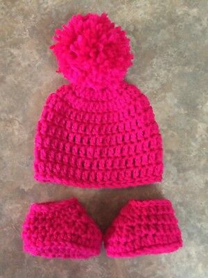 Crochet Newborn - 3 Month Baby Girl Hat & Booties Photo Prop Shower Gift Pompom