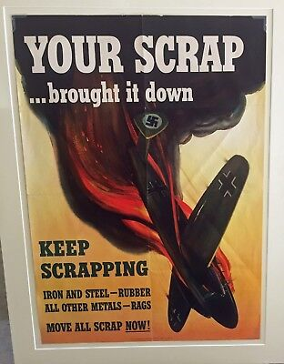 Original World War 2 USA Poster WW2 Scrap Metal UNFRAMED