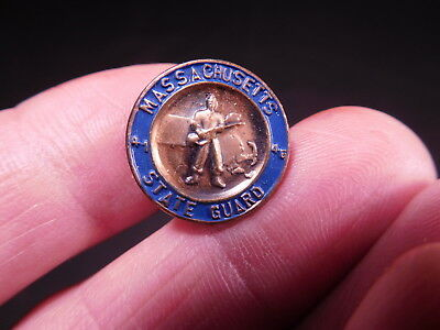 Very old copper & blue enameled MASSACHUSETTS STATE GUARD lapel pin