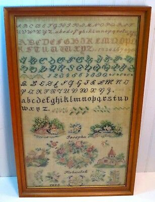 Antique Framed Dated 1848 Josepha Rohautek Silkwork Sampler Birds Young Girls