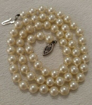 Vintage Antique 925 Sterling Silver Hand Knotted Pearl Necklace Filigree Clasp