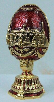 Russian Faberge Egg Replica with Kremlin and Church and golden decor PC-0946-05