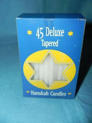 """Hanukah Candles, White, New Box of 45, 3/8"""" x 5"""" tall, Made in Europe"""
