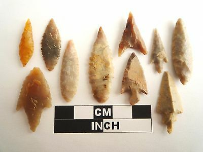 Neolithic Arrowheads x 10, High Quality Selection of Styles - 4000BC - (1089)